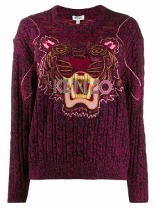 Kenzo tiger logo embroidered sweater - PINK