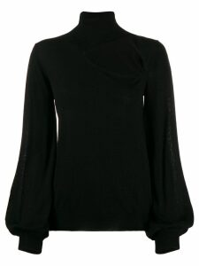P.A.R.O.S.H. roll neck cut-out front sweater - Black