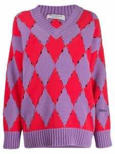 Philosophy Di Lorenzo Serafini distressed argyle sweater - PURPLE