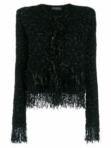 Balmain collarless fringed tweed jacket - Black
