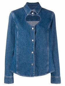 MSGM heart shape cut out denim shirt - Blue
