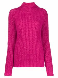 Saint Laurent sequinned turtleneck jumper - PINK