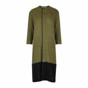 Bodice Green Contrast-panel Cotton Dress