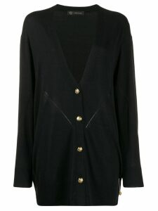 Versace oversized safety pin V-neck cardigan - Black