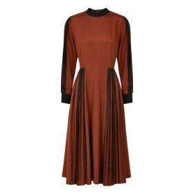 Bodice Rust Pleated Silk Dress