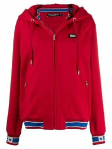 Dolce & Gabbana logo appliqué zipped hoodie - Red