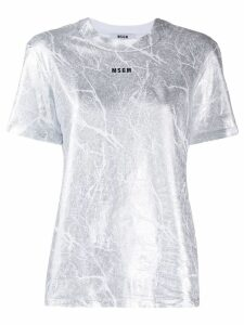 MSGM cracked metallic T-shirt - SILVER
