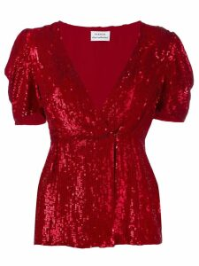 P.A.R.O.S.H. sequinned V-neck blouse - Red