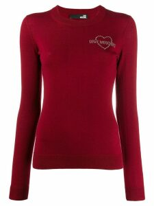 Love Moschino embellished logo sweater - Red
