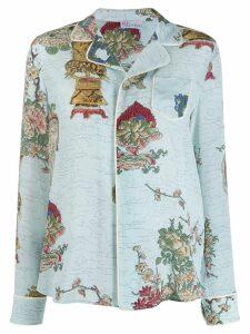RedValentino floral print pyjama shirt - Blue
