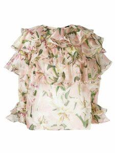 Dolce & Gabbana ruffle lily print blouse - NEUTRALS