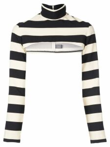 Christian Siriano cropped striped jumper - Black