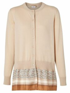 Burberry Monogram Print Scarf Detail Wool Cardigan - Neutrals