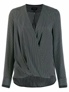 Rag & Bone wrap front striped blouse - Black