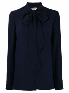 Alexander McQueen crepe de chine necktie blouse - Blue