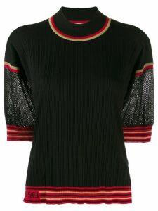 Fendi contrast sleeve ribbed jumper - Black
