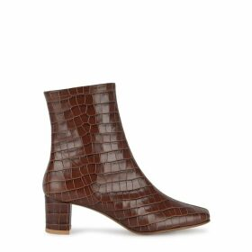 BY FAR Sofia 65 Crocodile-effect Leather Ankle Boots