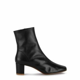 BY FAR Sofia 65 Black Leather Ankle Boots