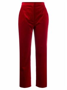 Dolce & Gabbana velvet high waisted trousers - Red