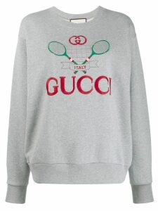 Gucci tennis motif embroidered sweatshirt - Grey