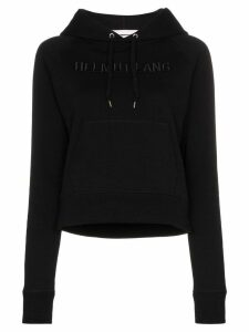 Helmut Lang logo embroidered hoodie - Black