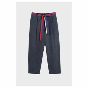 Chinti & Parker Navy Tie Waist Cotton-silk Trousers