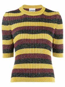 Ganni striped glitter jumper - Yellow