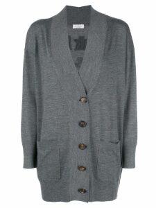 Brunello Cucinelli oversized slogan back cardigan - Grey