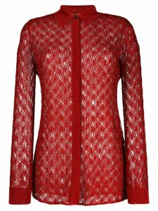 Missoni sheer knitted shirt - Red