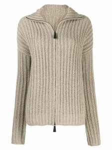 Dusan zip-up knitted cardigan - NEUTRALS