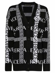Versace Greek Key logo-intarsia cardigan - Black