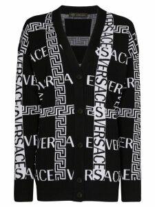 Versace Greek Key logo-intarsia cardigan - Black