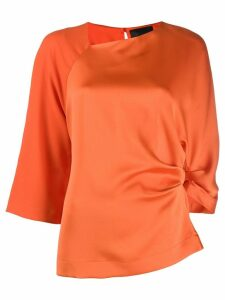 Erika Cavallini panelled crepe and satin top - ORANGE