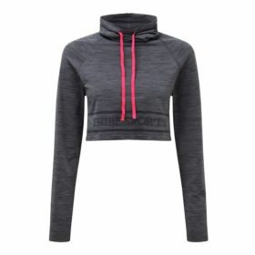 Tribe Sports Cowl Neck Crop - Charcoal Grey