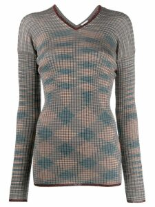 M Missoni ribbed checked jumper - Neutrals