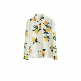 Chinti & Parker White Lemon Print Silk Shirt