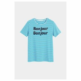 Chinti & Parker Blue Striped Bonjour Bonjour Jersey T-shirt