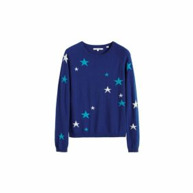 Chinti & Parker Blue Tonal Star Cashmere Sweater
