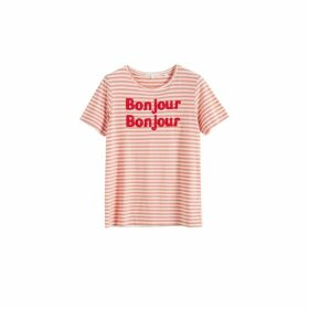 Chinti & Parker Pink Striped Bonjour Bonjour Organic Jersey T-shirt
