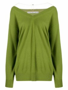 Alexander Wang wide V-neck jumper - Green