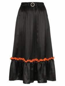 Shrimps lace trim midi skirt - Black