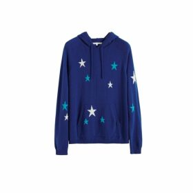 Chinti & Parker Blue Tonal Star Cashmere Hoodie