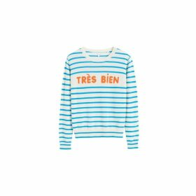 Chinti & Parker Blue Tres Bien Striped Cashmere Sweater