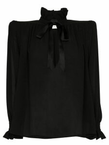 Saint Laurent structured-shoulder silk blouse - Black