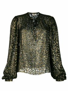Saint Laurent lurex leopard-pattern blouse - Metallic