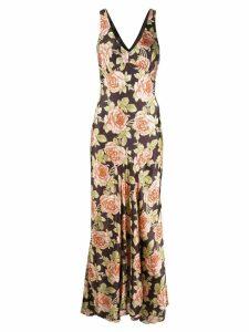 Paco Rabanne floral print maxi dress - Brown