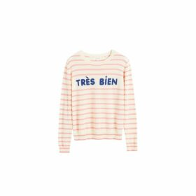 Chinti & Parker Cream Tres Bien Striped Cashmere Sweater