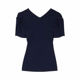 Maggie Marilyn Sweet Like Honey Navy Ribbed Jersey Top