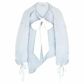 JW Anderson Light Blue Pleated Asymmetric Satin Blouse