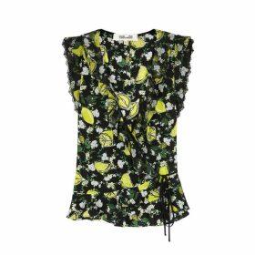 Diane Von Furstenberg Peona Lemon-print Silk Top